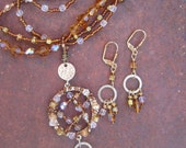 Beaded Wire Wrapped Necklace and Earring Set - ooak - Multi Strands - Matching Earrings