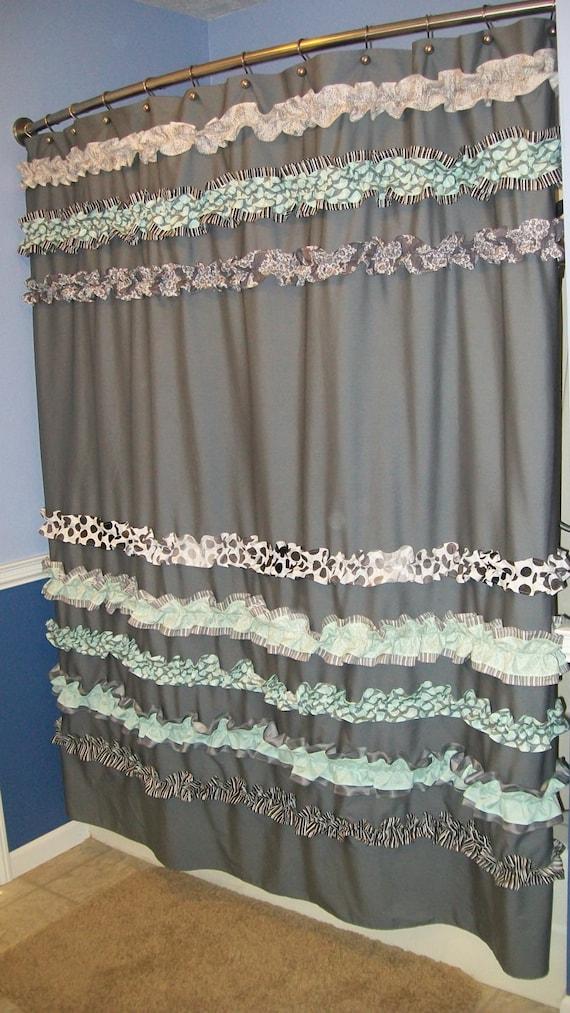 Items Similar To Shower Curtain Custom Made Ruffles Ruffled Designer Fabric Gray Black White