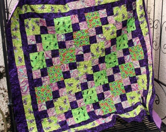 Clearance SALE Halloween Patchwork Quilt, Spook Show in Lime & Purple, Handmade by PingWynny