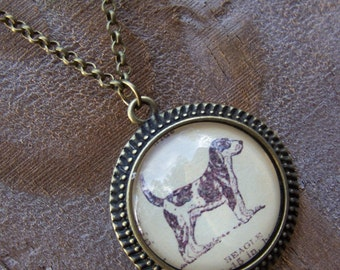 Graduation Gift--Beagle Necklace Vintage Dictionary Print--Handmade Cabochon Necklace-- Gift for Dog Lovers