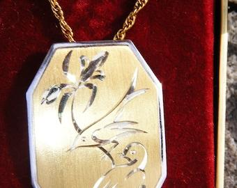 Gorham Golden Scroll Sterling Vermeil Love Birds Necklace