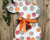 Pink and Orange Easter Bunny with Bow Door Hanger - doornament