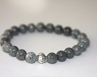 Gemstone Stretch Bracelet,Dark Sage Green Gray, Silver Accent Bead,Stacking