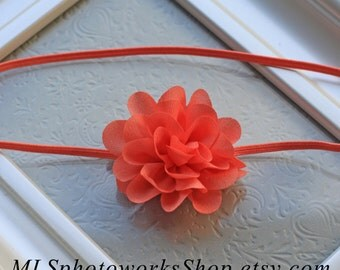 Tiny Coral Flower Baby Headband - Mini Tropical Coral Orange Hair Bow - Petite Chiffon Flower Headband for Babies & Toddlers in Summer Coral