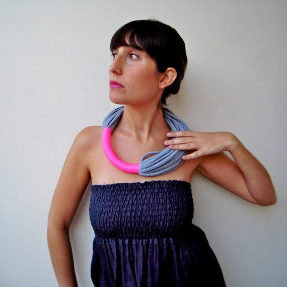 The funky neon necklace - handmade in neon and grey jersey fabric