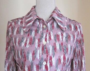 Vintage Blouse Purple Geometric 1970s Top Womens Medium
