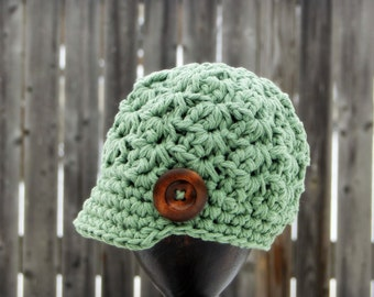 Crochet Baby Hat, newborn hat, boys hat, girls hat, kids hat, crochet newsboy hat, hat with button