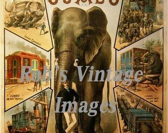 Vintage Elephant Circus Poster Pt Barnum Jumbo 1880s 8 X