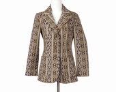 Brown Jacket Womens Blazer Southwest Animal Print Snake Pattern Medium