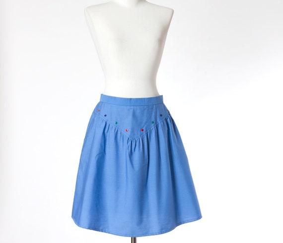 70s Cotton Skirt Sky Blue Candy Color Buttons Vintage Medium