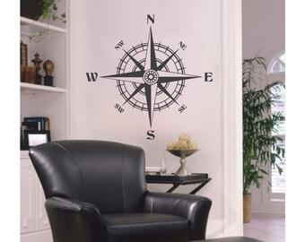 Vinyl Decal Nautical COMPASS ROSE - Wall Art Decal S-102