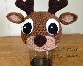 Deer or Elk Hat - Crochet Pattern 58 - US and UK Terms -  Beanie and Earflap - Newborn to Adult - Instant DOWNLOAD