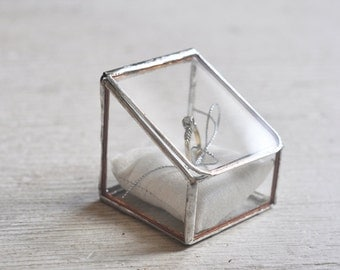 Stained Glass Ring Holder - Hinged - Glass Display Box - silver or copper - eco friendly - engagement