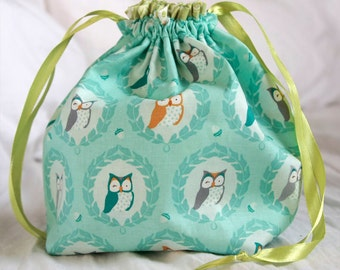 Knitting project bag- Owls/Green floral