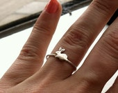 Tiny Bunny Sterling Silver Stacking Ring - Brass on Silver - custom made to order