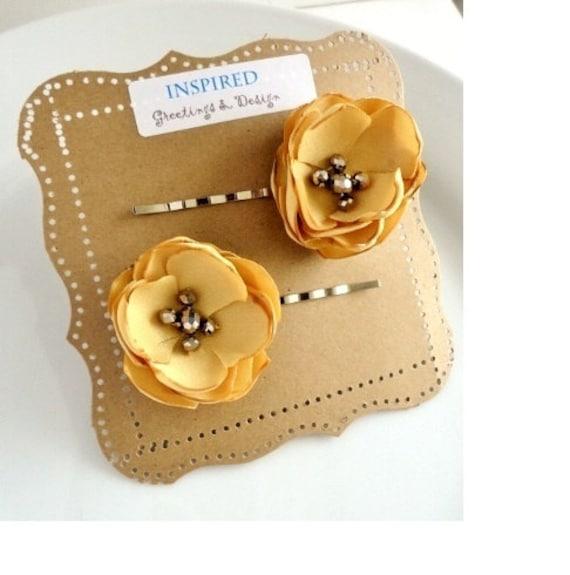 2 Muted Mustard Yellow Flower Hair Pins, Honey Gold Mustard Hair Accessories, Yellow Hair Clip, Small Bridal Hair Flowers, Fall Hair piece
