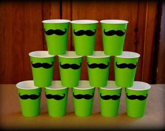12 Mustache Paper Party Cups-Mustache Cups-Little Man Party-Mustache Party-Baby Shower-Birthday-Little Man-The Handlebar- Green color cups-