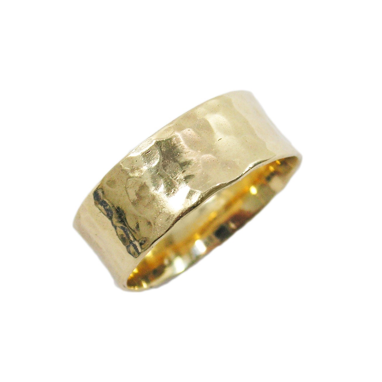 Hammered Wedding Band 14K Yellow Gold Wedding Band 7mm Wide