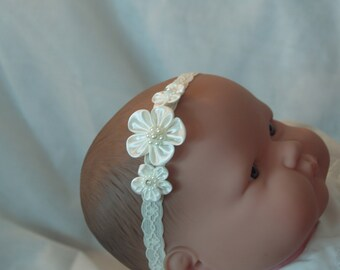 Baby Ivory Hair Flowers, infant lace head band, ivory lace band, Lace Stretch Baby Headband, Christening, Baptism, Blessing Day Wear