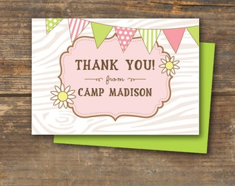 Thank You Note Cards - Camp Theme - DIY Printable