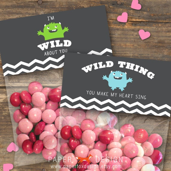 Valentine's Day Gift Bag Topper - DIY Printable - Kids - Wild Thing