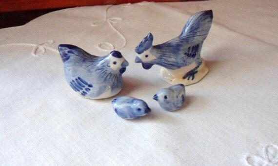 Miniature Chicken Family, Ceramic Chickens, Doll House Farm Birds