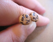Chocolate chip cookie earrings made from polymer clay