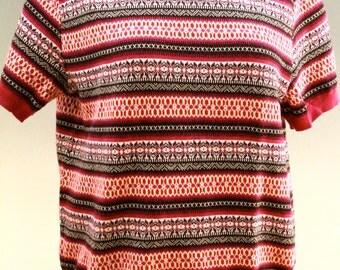Vintage Cotton Sweater, Cotton Fair Isle Pattern, Short sleeved,1980's, On Sale 50% off!