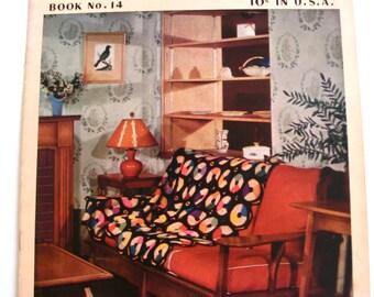 Vintage Crochet Afghans Pattern Brochure, Cynthia Smart 1950's