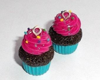 Strawberry Cupcake Earrings - Handmade - Polymer Clay - Hook Style