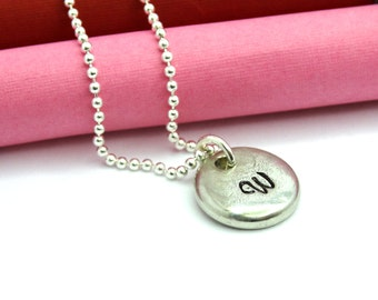 Hand Stamped Initial Personalized Necklace