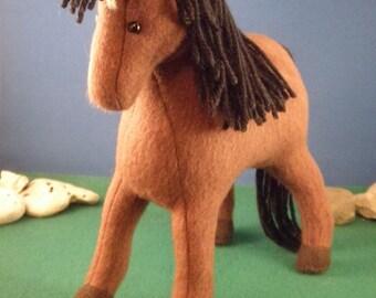 Brown pony, Artist bear horse,  soft sculpture horse, miniature plush horse, horse lover gift