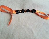Orange and Black Sequin Floral Ribbon Bracelet