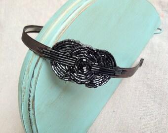 Hematite and Charcoal Gray Beaded Headband