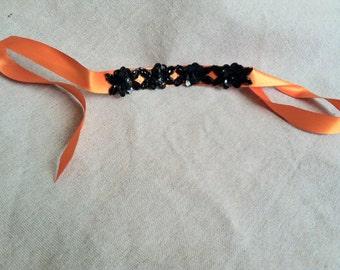 Orange and Black Sequin Floral Ribbon Bracelet