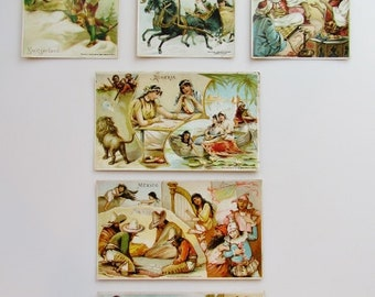 Victorian trade cards, 6 lithographed cards of foreign countries dated 1893, vintage ephemera