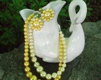 Vintage 1950s Pearl Double Strand Necklace w/ Earrings.