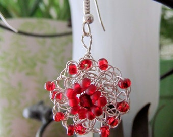 Red and Silver Wire Crochet Flower Earrings