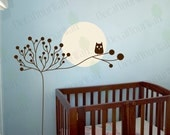 Wall Decal Nursery Decor Wall Art Stickers Large Tree Owl Baby Kids Room Removable Vinyl Sticker Branch Abstract Moon