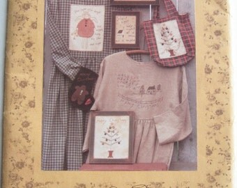 90's Craft Pattern - Christmas Stitcheries Naive style - Kindred Spirits - complete pattern for crafting