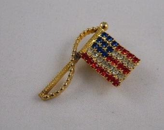 Americana Pin / American Flag Brooch / Red White and Blue Rafaelian Rhinestone Flag Brooch