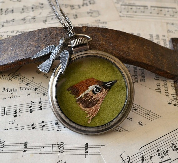 Hand Embroidered Wren Pocket Watch Pendant