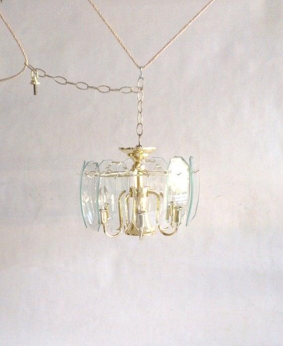 Vintage Etched Starburst Curved Glass Panel and Brass Chandelier Ceiling Light