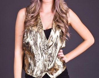 SALE 50% OFF 80s Vintage Metallic Vest in Gold