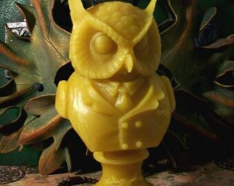 Victorian Owl Bust Beeswax Candle