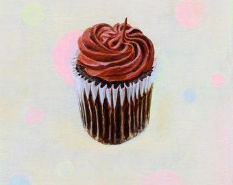 "Chocolate Cupcake Painting, Pastel, Photorealism, Acrylic on Panel, 6 x 6"""