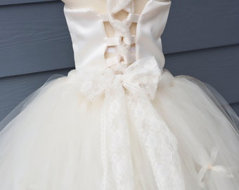 Satin Corset Top Ivory with Ivory Lace Straps CUSTOMIZABLE Sizes 6 months Through 9/10