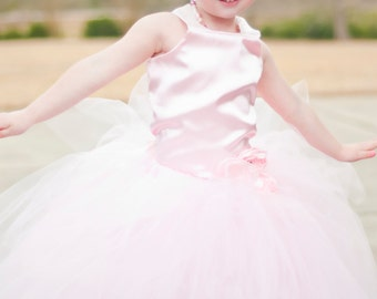 Ballerina Costume Baby Pink Tutu Dress Floor Length Sewn Tutu Dress with Satin Corset Style Top and Satin Flower Hair Clip CUSTOMIZABLE