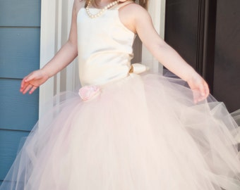 Flower Girl Tutu Dress Floor Length Sewn Tutu Dress Blush Pink and Ivory with Satin Corset and Satin Flower Hair Clip CUSTOMIZABLE