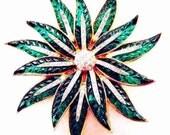 Alfred Philippe Trifari Green Poinsettia Brooch Invisibly Set Glass Priority Mail Signature